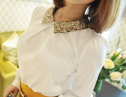Pretty Sequins Collar White Shirt. Ladies Long Sleeves Work Top ...