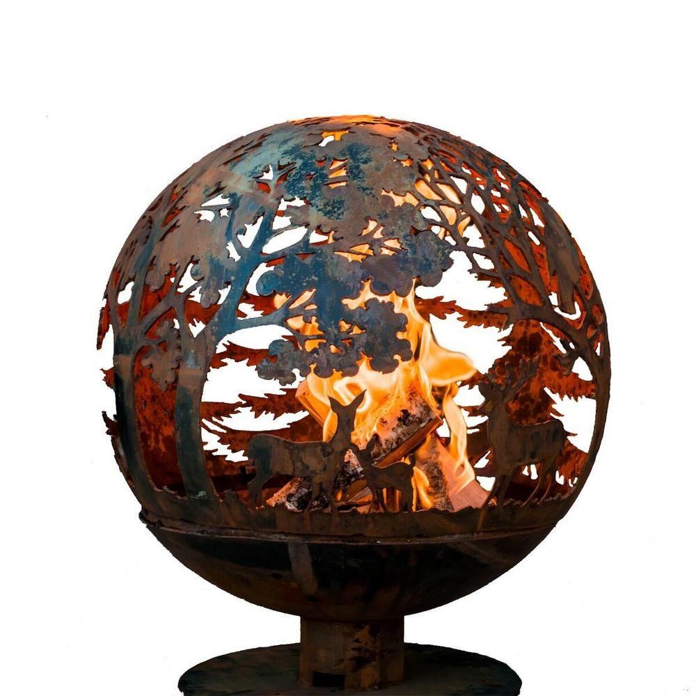 Esschert Design Wildlife 32 In X 36 In Round Steel Wood Burning Fire Pit In Rust Red Wood Burning Fires Wood Burning Fire Pit Design