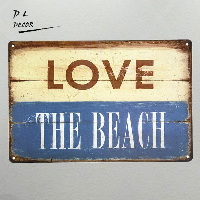 DL-LOVE the Beach Metal Sign, tropical beach house decor cafe shop ...