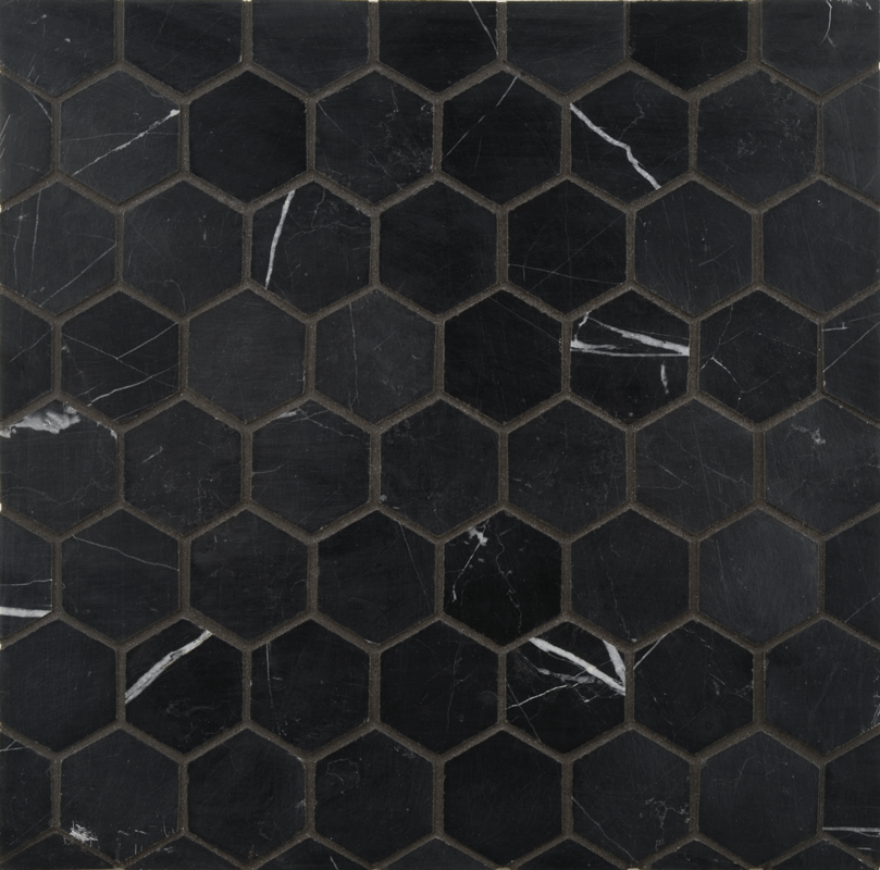 Ann Sacks Nero Marquina 2 Hexagon Marble Mosaic In Honed Finish