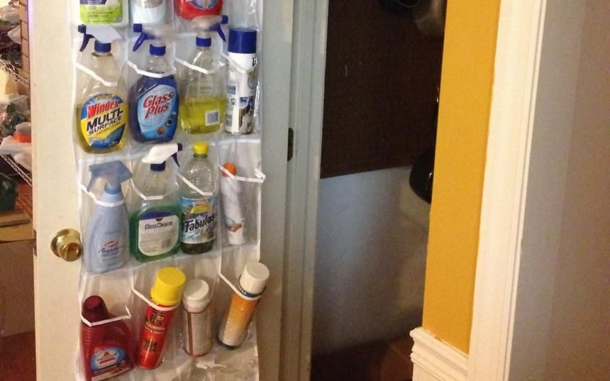 6 Creative Hacks To Put A Shoe Organizer To Work. Organize Cleaning Supplies OrganizingDoor ...