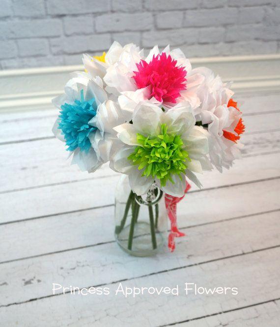 Tissue Paper Flowers Bouquet of Six | Tissue paper flowers, Paper ...