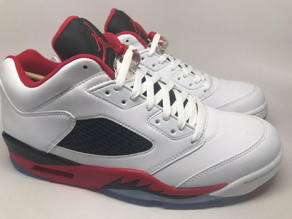 Nike Air Jordan 5 Retro Low 819171-101 White/Fire Red-Black Men