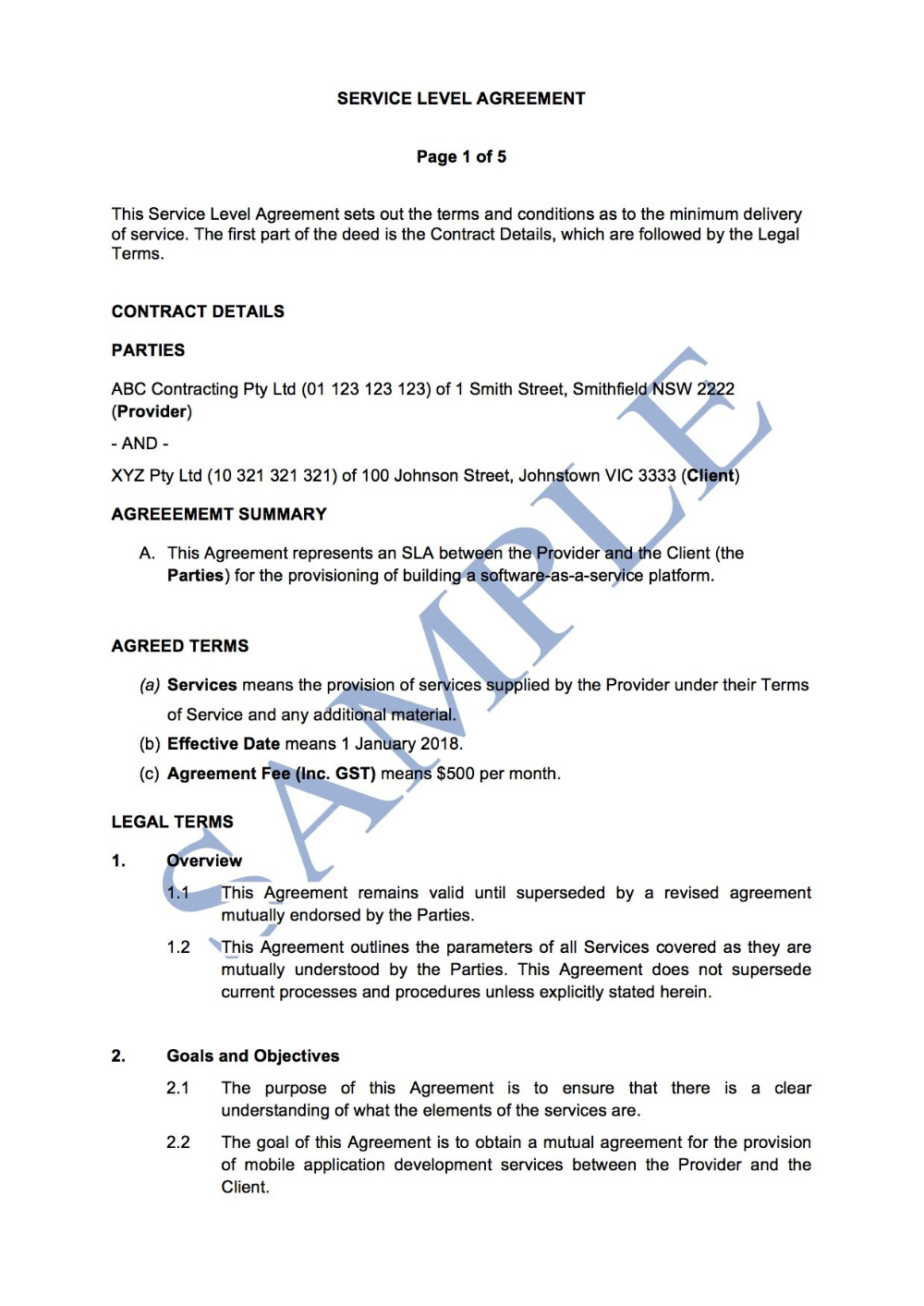 Service Level Agreement Free Template Sample Lawpath With Standard Service Level Agreement Template 10 Professional In 2020 Service Level Agreement Agreement Levels
