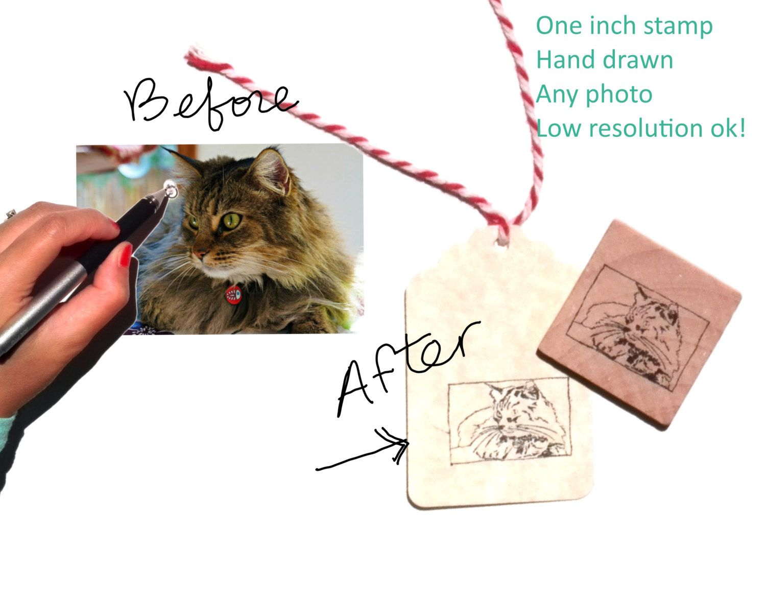 Hand Drawn Pet Portrait Stamp Any Resolution Photo Small Stamp Great