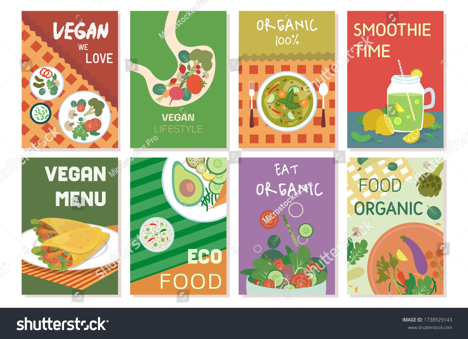 Set Of Vegan Food Colourful Banners Menu Vector Illustration Food And Drink Marketing Material And Advertisement Fl In 2020 Vegan Recipes Menu Illustration Vegan Menu