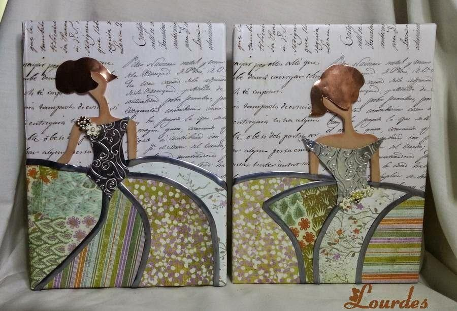 Pareja de meninas realizadas sobre lienzo ancho de 24*18 Cuerpo realizado en arcilla poliméricaPelo y corpiños con planchas de aluminio en cobre y plateado.Ambas llevan adorno