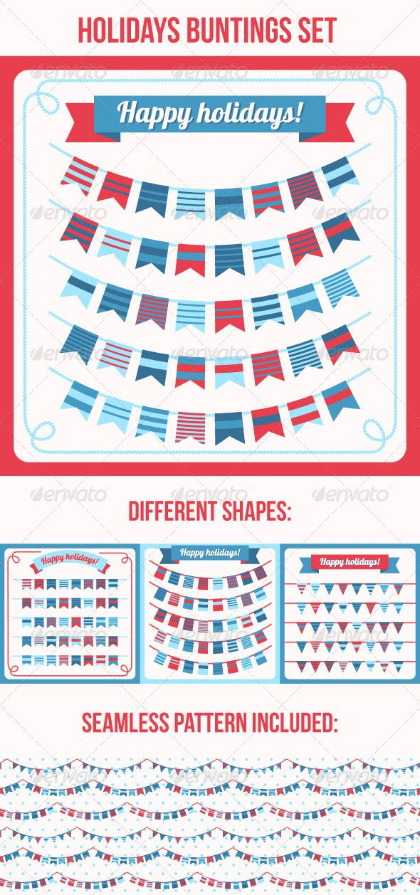Set Of Bunting And Garland With Images Background Banner Framed Flag Seamless Patterns