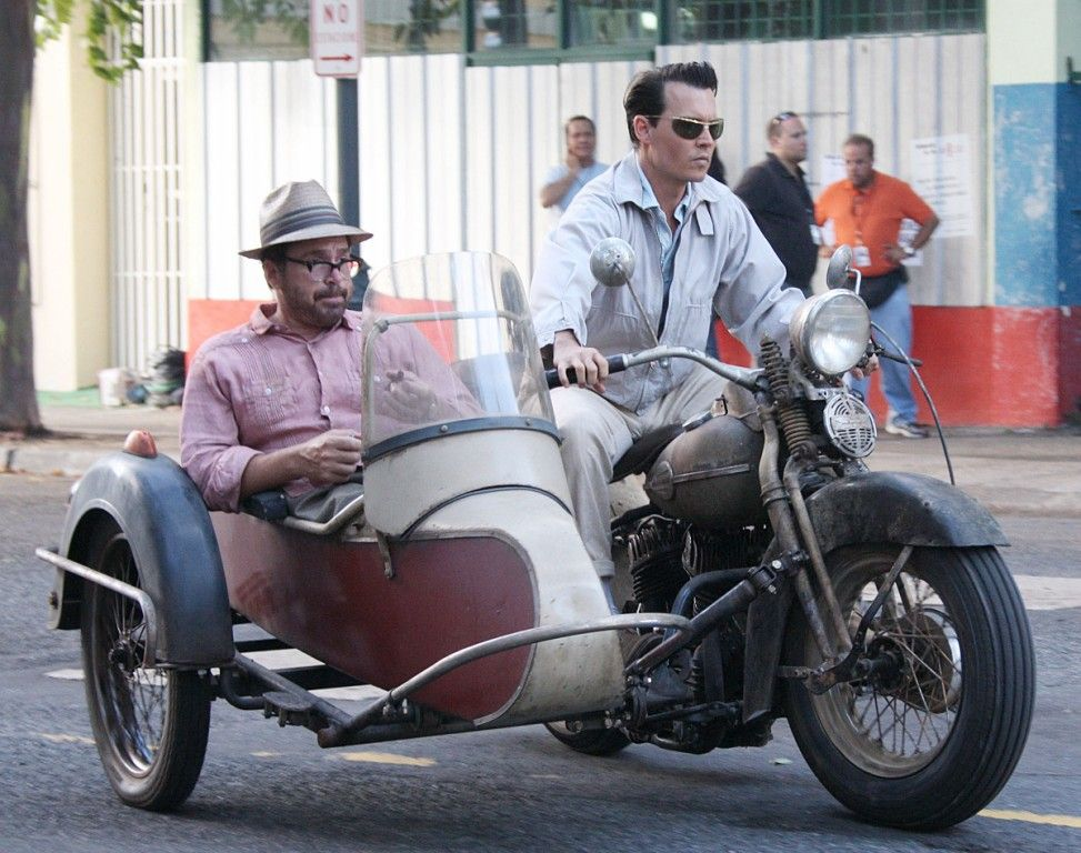 Johnny Depp on Classic Harley Flathead Motorcycle With Vintage Sidecar