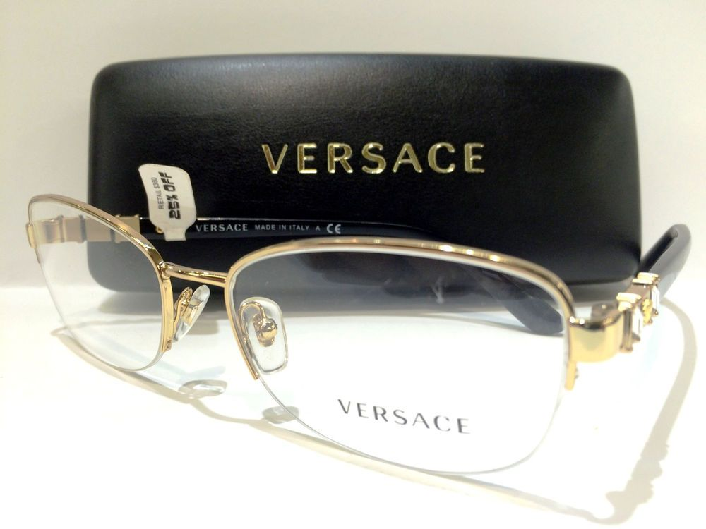 496431fcc78b New Versace VE 1230-B Eyeglasses Frames Black Gold 1002 Authentic 54mm # Versace