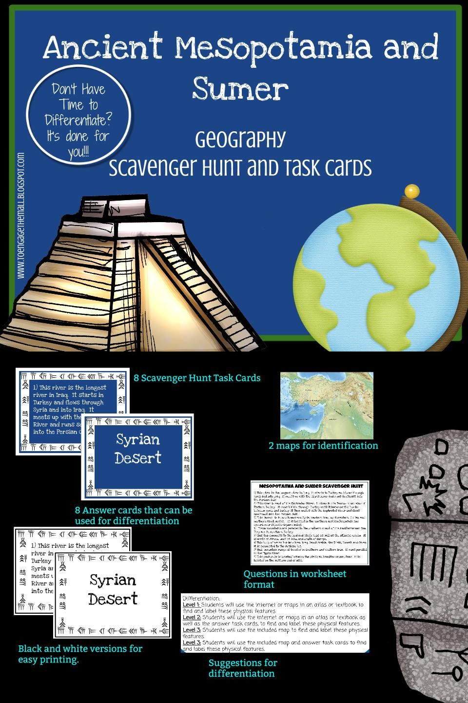 Ancient Mesopotamia And Sumer Geography Scavenger Hunt And Task Cards Don T Just Ask Your Kids To Labe Mesopotamia Ancient Mesopotamia 6th Grade Social Studies