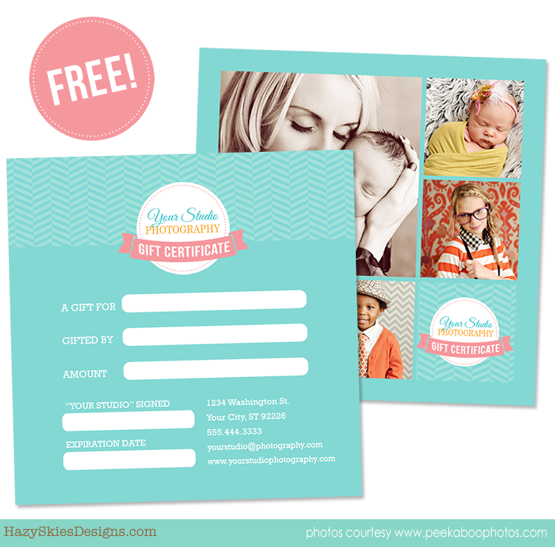 Free Gift Certificate Template For Photographers  Logo  Package