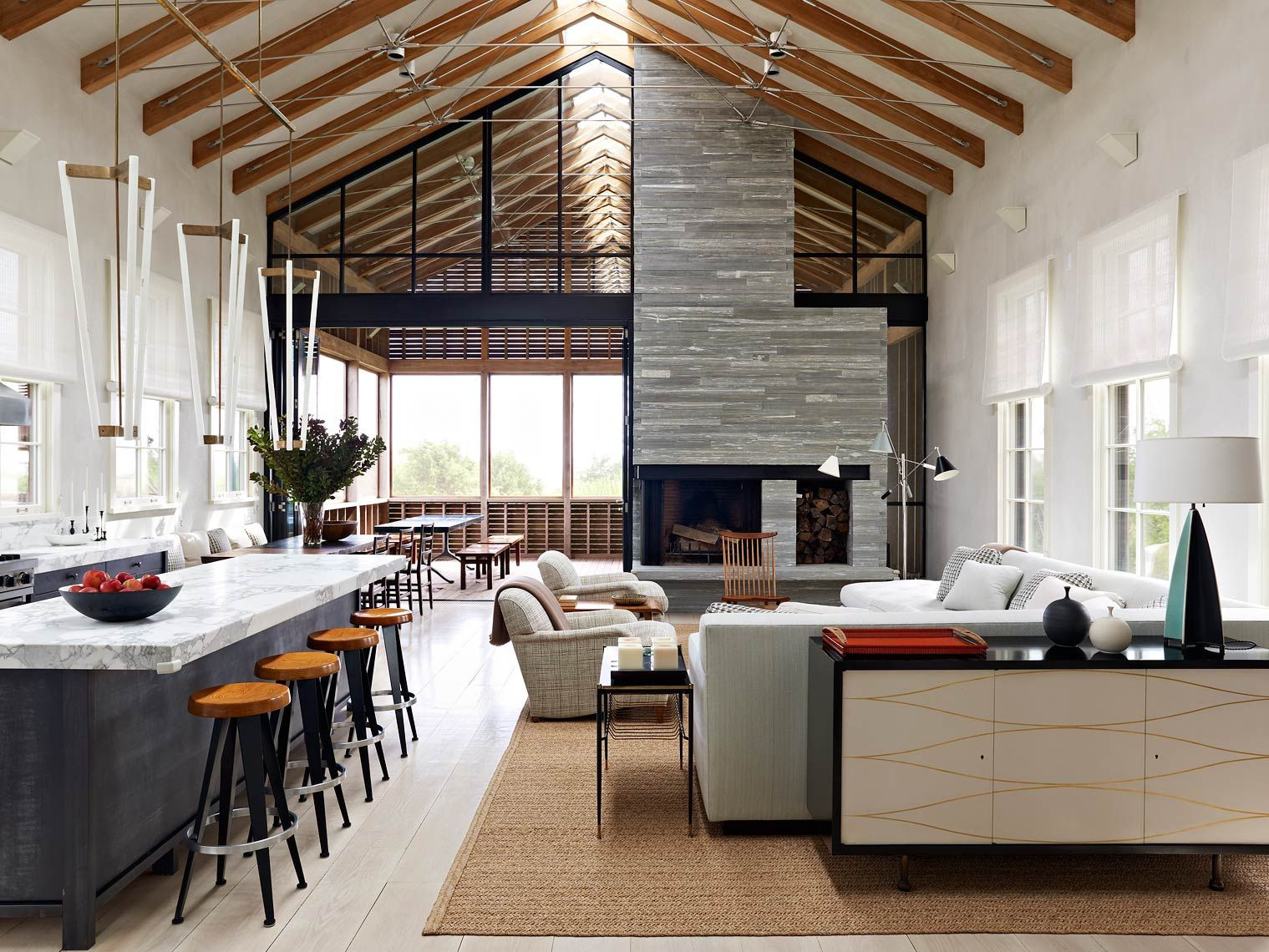 rustic luxury, open plan living space, modern beamed ceilings