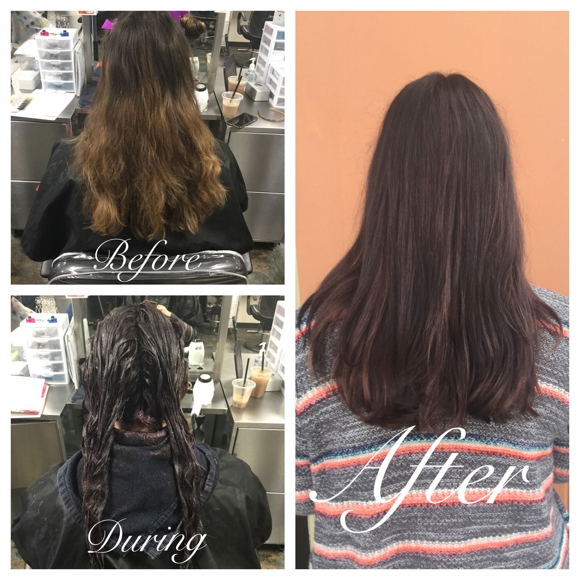 4 14 17 Virgin Tint Application Going Darker She Went From A Brassy Balayage To A Darker Chocolate Brown With Some Warm Long Hair Styles Balayage Hair Color