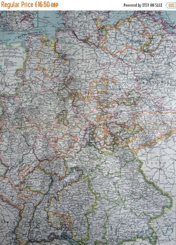 50 SALE 1903 Western Germany Large Original Antique Map 155 x