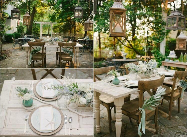 D coration de mariage marine et robe de mari e vert d 39 eau mariage th m - Mariage theme retro chic ...
