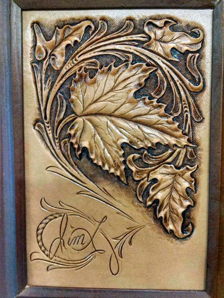 Beautiful maple leaf from jim linnell leather tracing
