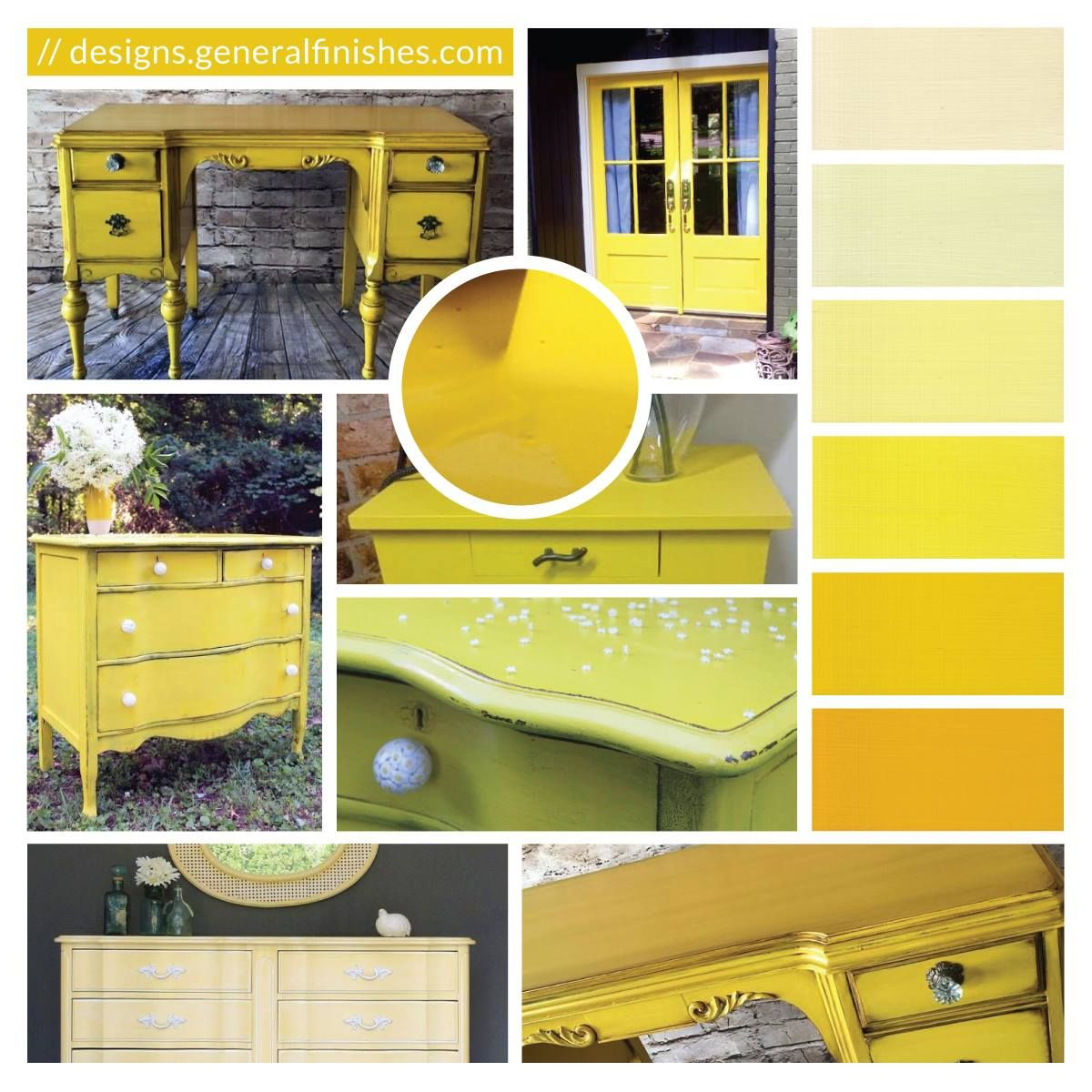 Sunglow Milk Paint Style Inspiration is part of Yellow Home Accessories Paint - Paint your home accessories with daylight using General Finishes Sunglow Milk Paint! Sunglow is a fresh yellow color that sets the tone for relaxation and is sure to perk up your mood  All designs featured in this image belong to their respective owners at Ginger WatkinsJunque With A PurposeLeiloutaThe ReStore Midleton