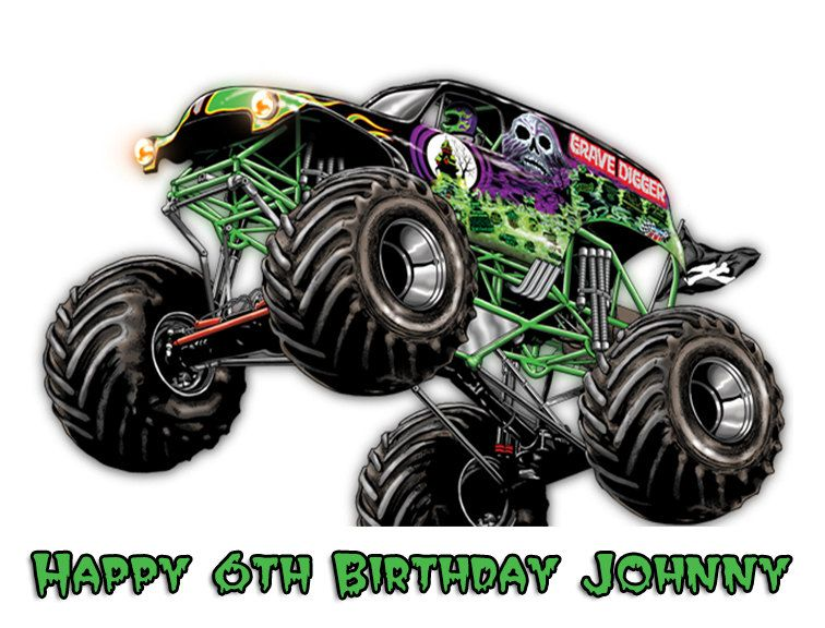 Monster Truck Grave Digger Edible Cake Topper W Free
