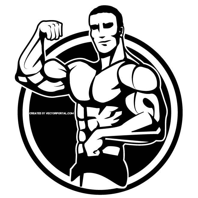 Bodybuilder Showing Off Bodybuilding Vector Free White Image