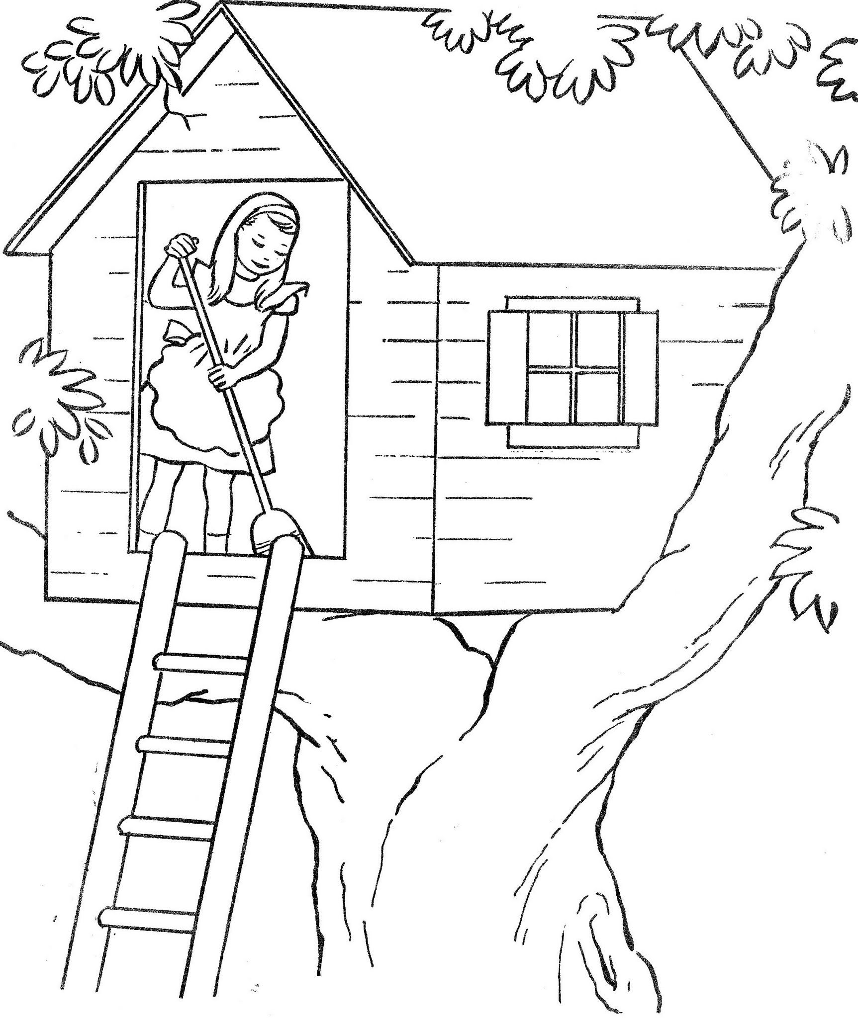 playing in a treehouse free printable coloring pages