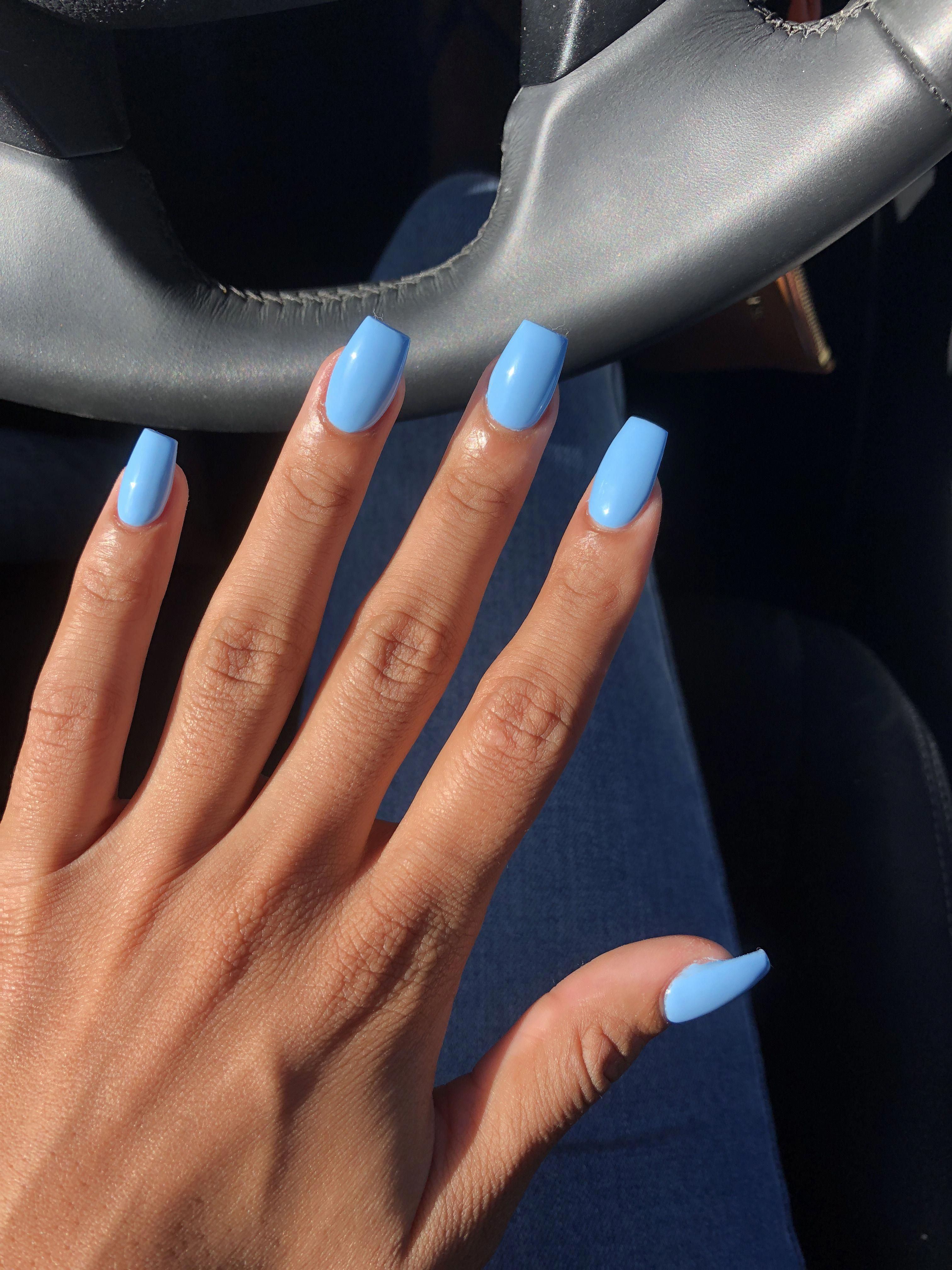 Blue Acrylic Coffin Nails Summer Acrylicnailart Blue Acrylic