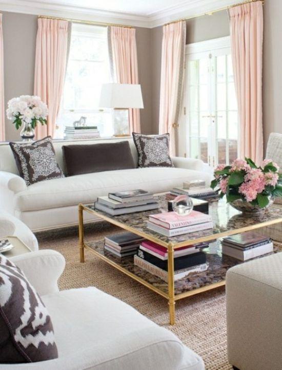 Interior Design Ideen - 50 luftige feminine Wohnzimmer Designs - design gardinen wohnzimmer