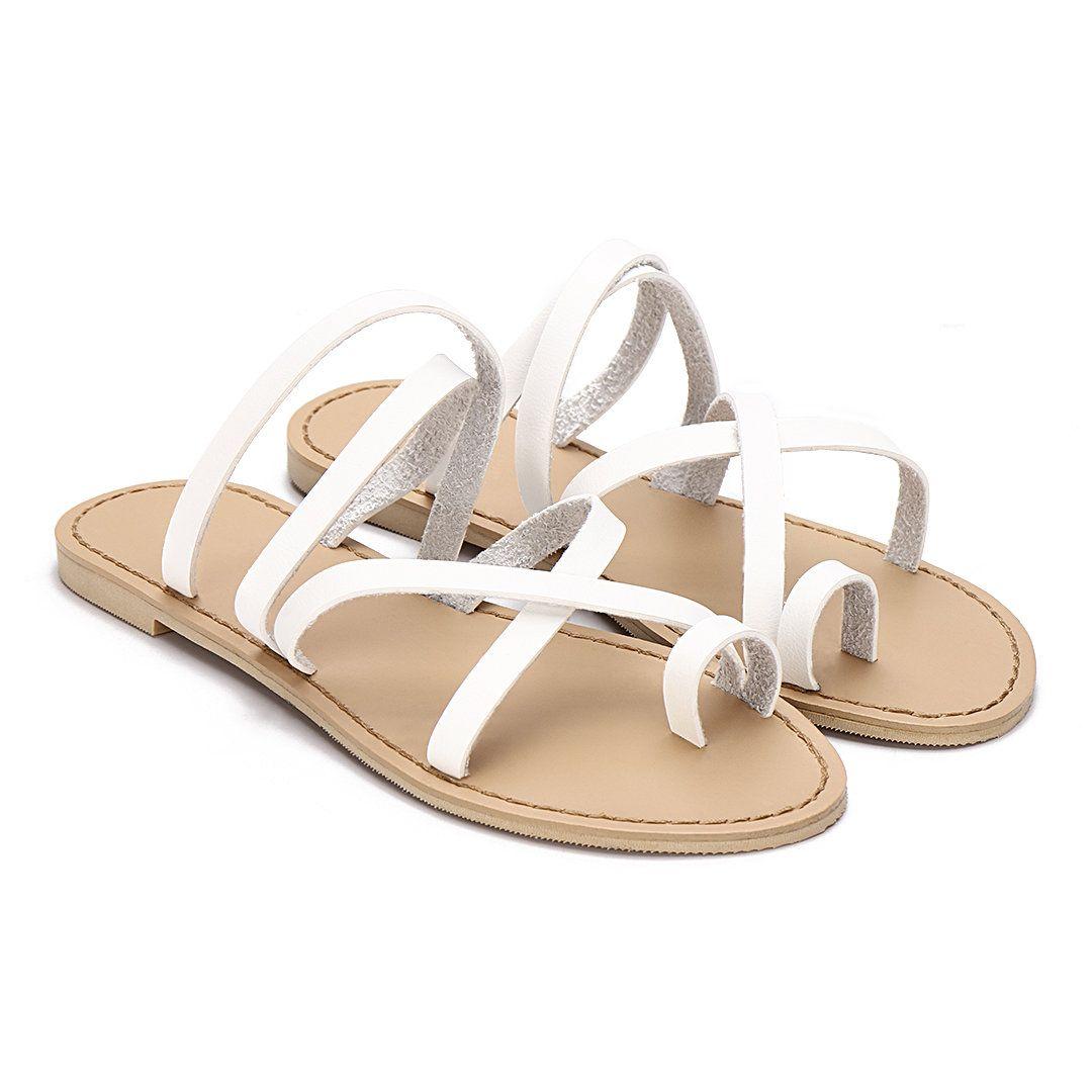 White Cross Straps Fashion Style Flat