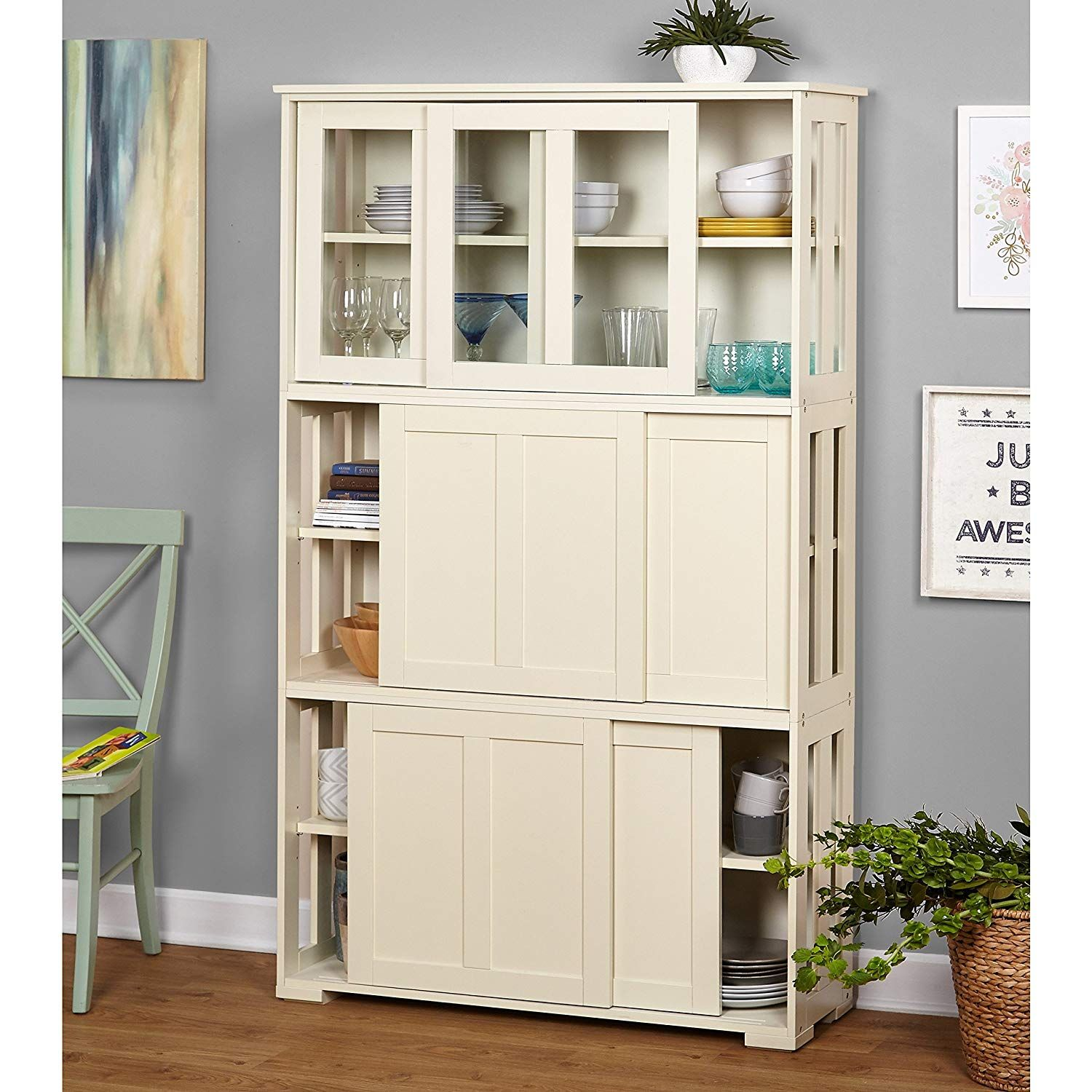 MyEasyShopping Tall Cabinet Living Simple Extra Pantry Storage ...