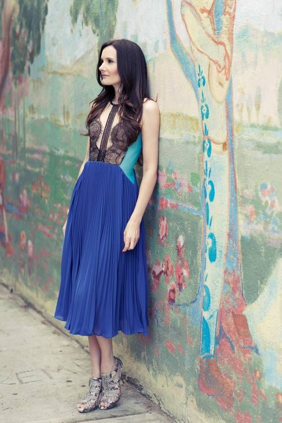 pleats, blues & lace - another amazing look from StyleOnTheCouch!