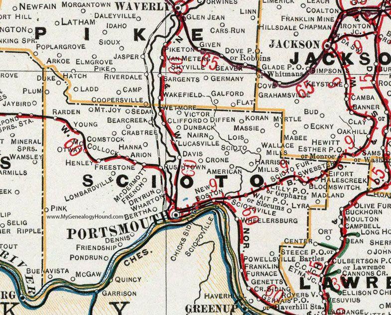 Scioto County Ohio 1901 Map Portsmouth New Boston