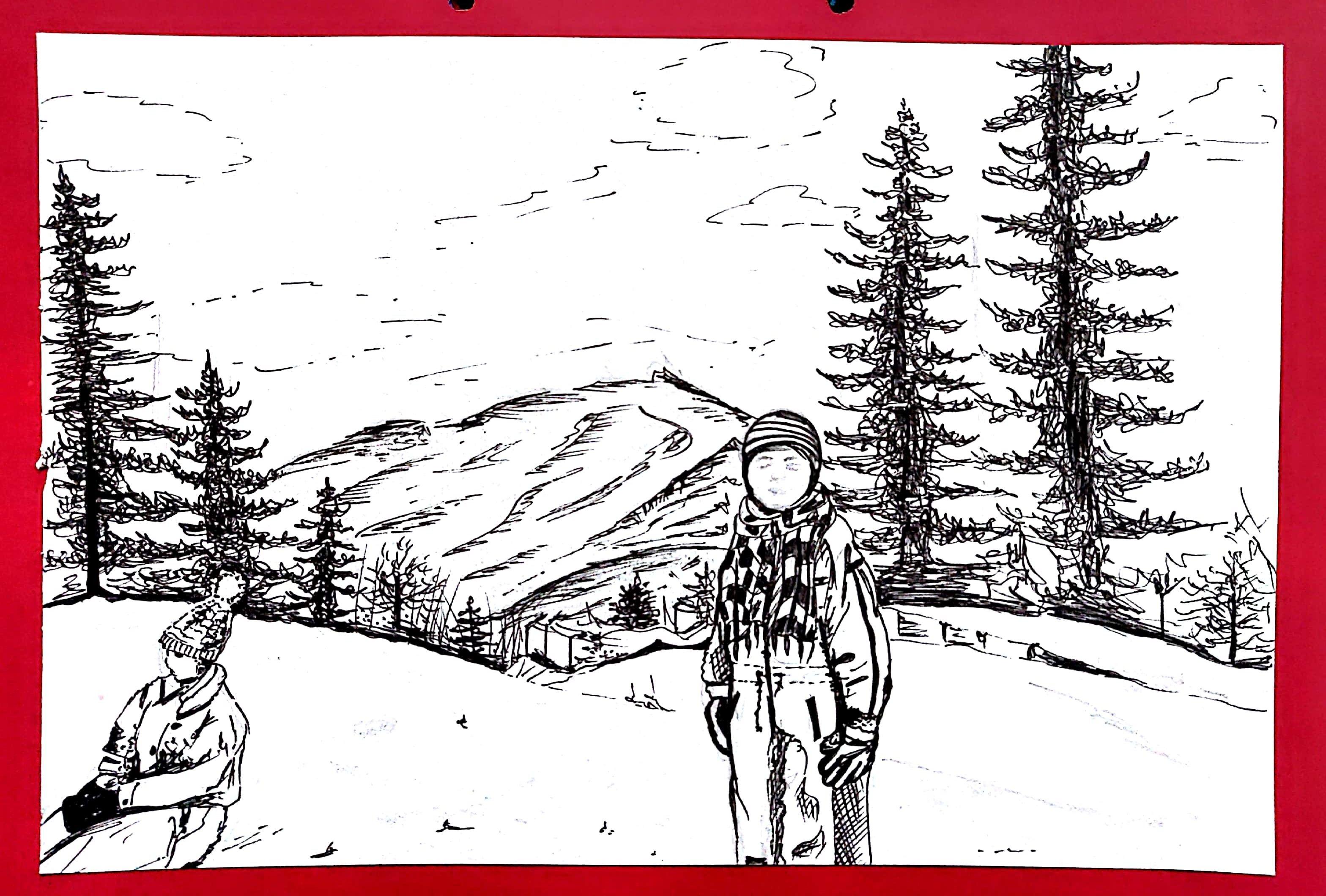 Kufri drawing hill architecture uzair sketching uzair