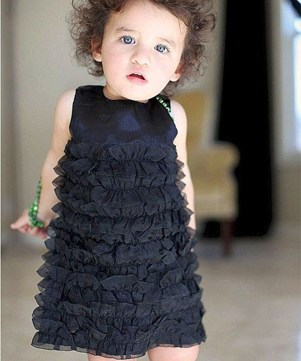 Black Satin Ruffle Dress - Infant, Toddler & Girls by RuffleButts #zulily #ad *aforable