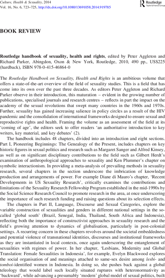 Routledge Handbook Of Sexuality Health And Right Scholarship Essay Example 500 Word On