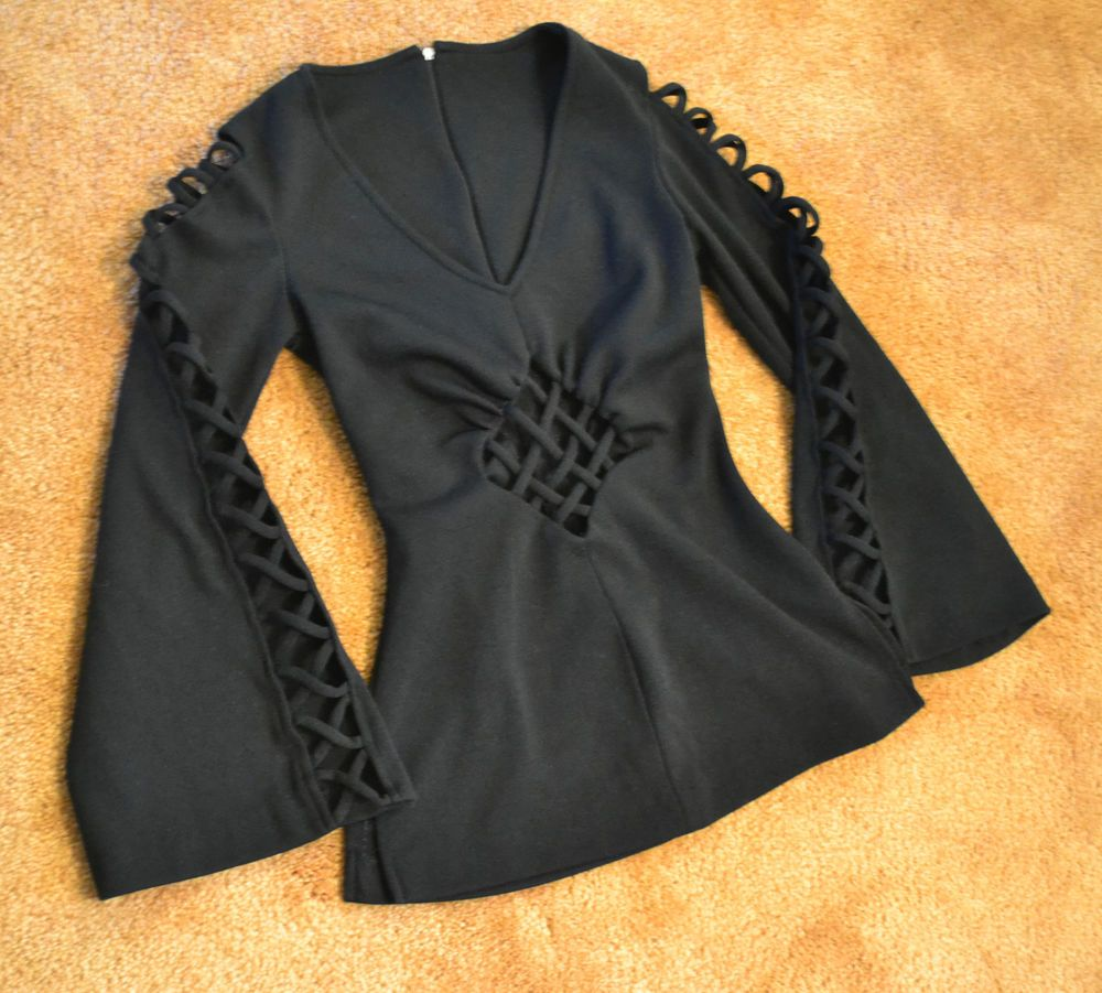Black v neck long sleeve blouse top shirt witch medieval goth corset