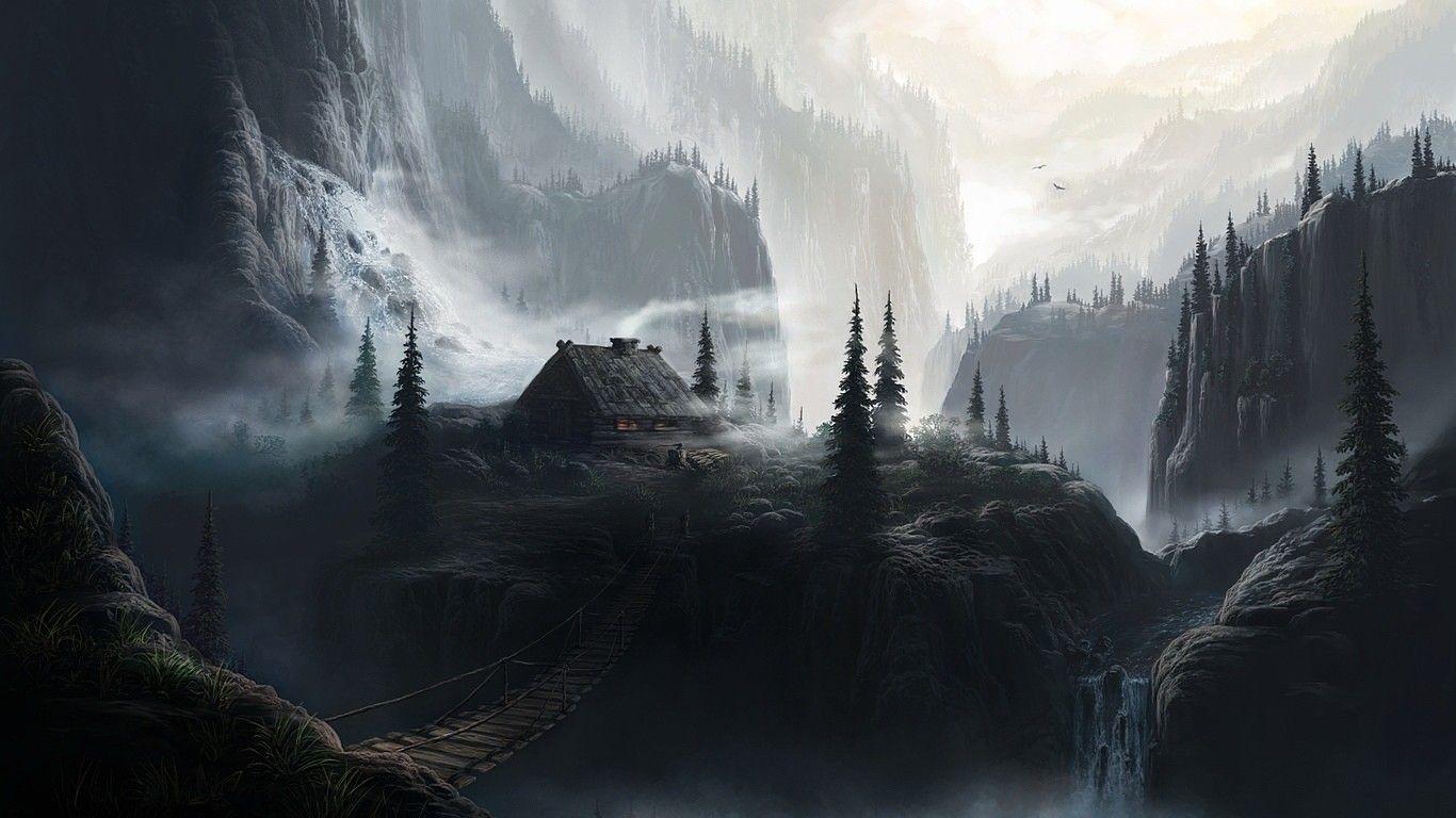 Mist Mountains Fantasy Art Nature Artwork