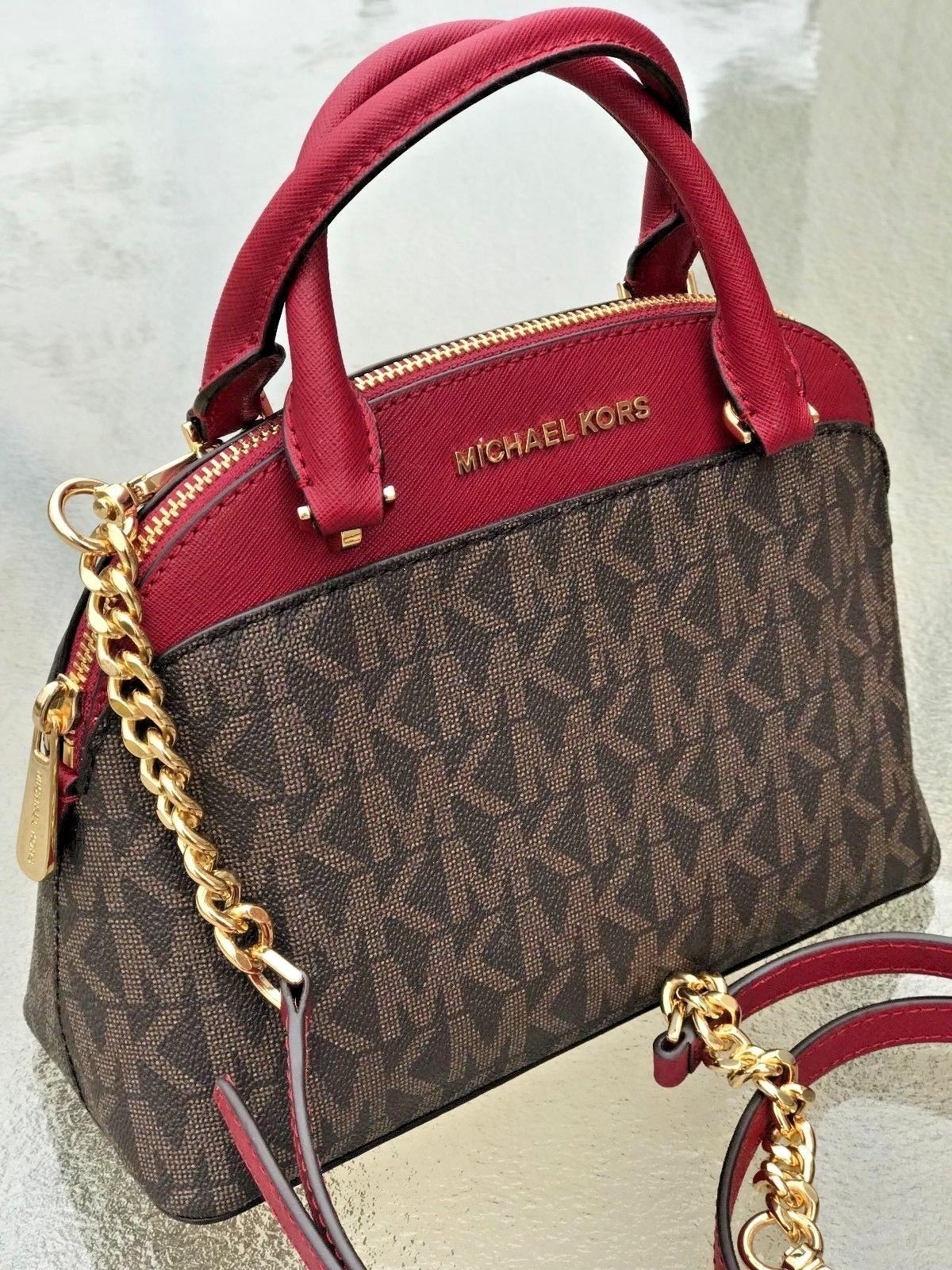 8ad13eafefe7 Michael Kors Emmy Small Cindy Dome Satchel Crossbody Brown Signature MK  Cherry