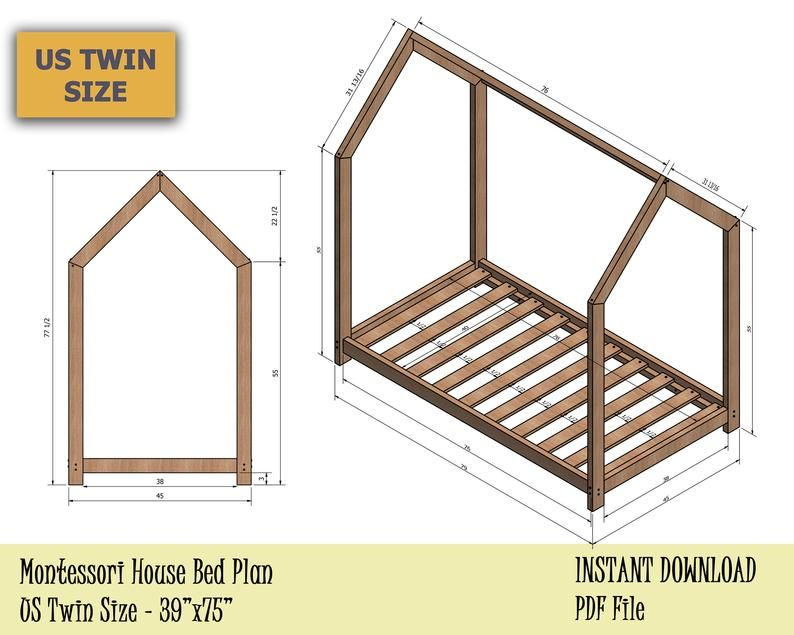 Toddler House Bed Frame Us Twin Size Montessori Bed Plan Easy And Affordable Diy Wooden Floor Bed For Kids Bedroom In 2020 House Beds For Kids Toddler Floor Bed Montessori Bed