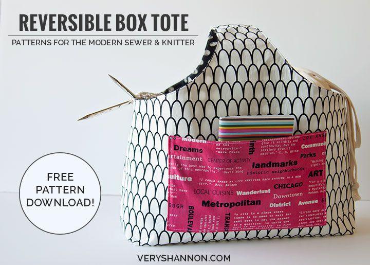 Knitting Bag Sewing Pattern Free : Sewing tote pattern box and patterns