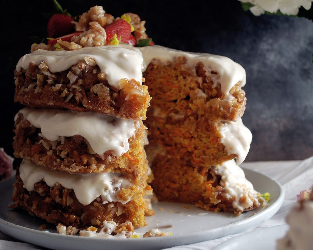 Coconut Praline Carrot Cake with Cream Cheese Frosting