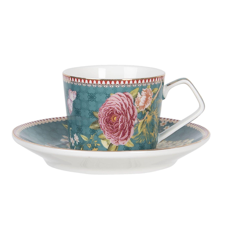 Kaffeetasse mit Untertasse | 11*8*6 / Ø 15*2 cm / 0.2L | Mehrfarbig | Porzellan | Clayre & Eef | 6CE1171