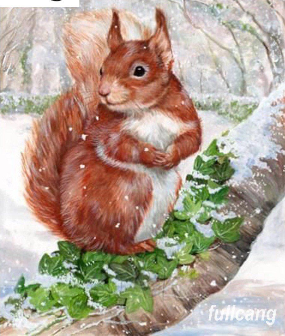 US Seller. Adorable Squirrel, Winter Wonderland 20x25cm Diamond Painting Kit Full Drill. Square Drills. Fast S&H