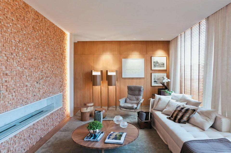 Sala De Estar Lareira · Wood WallsLiving RoomHouse ... Part 51