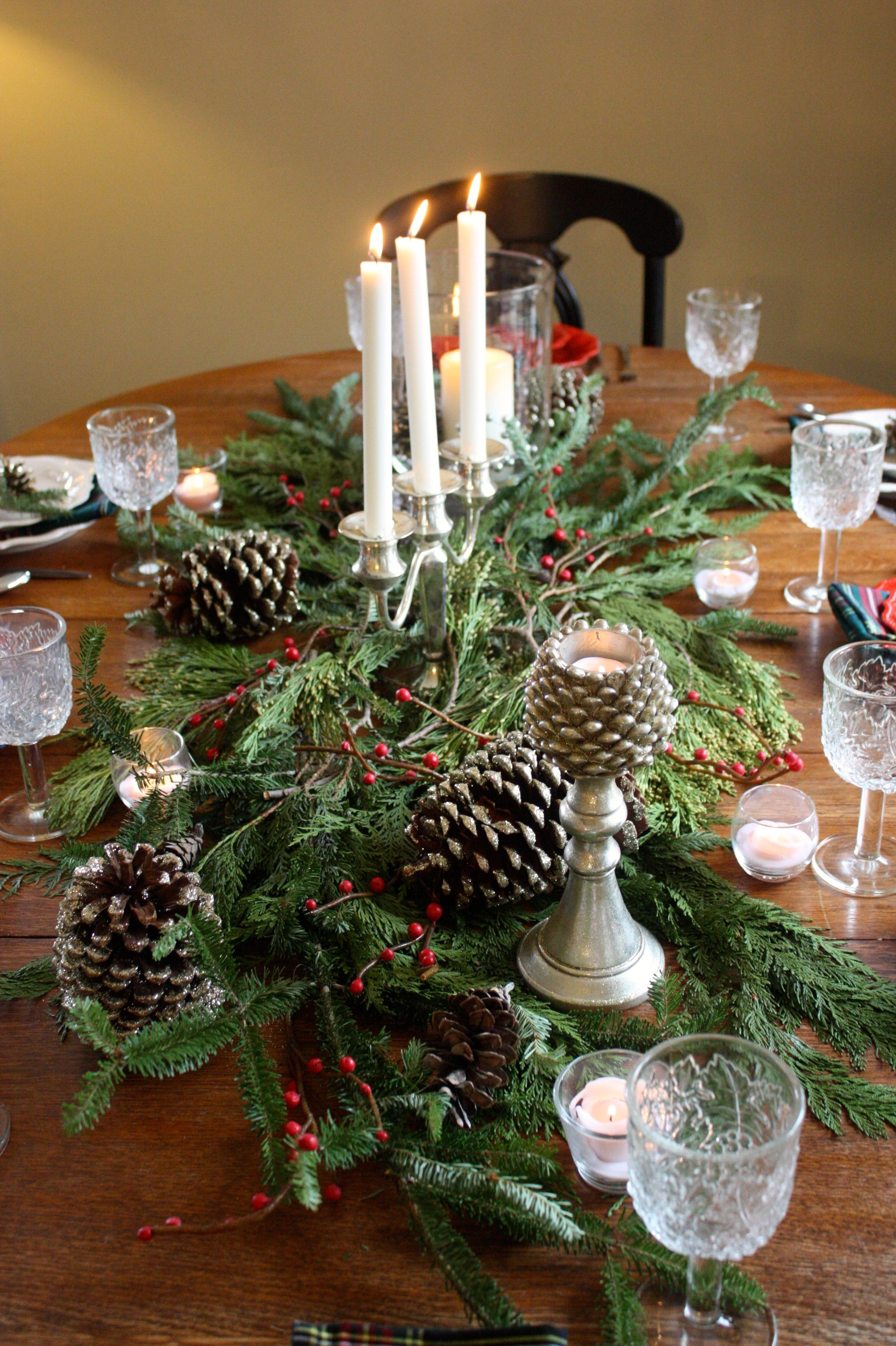 I Love Creating Simple Holiday Tablescape With Fresh Greens Pineconses Berries And Can Christmas Table Centerpieces Holiday Tablescapes Christmas Decorations