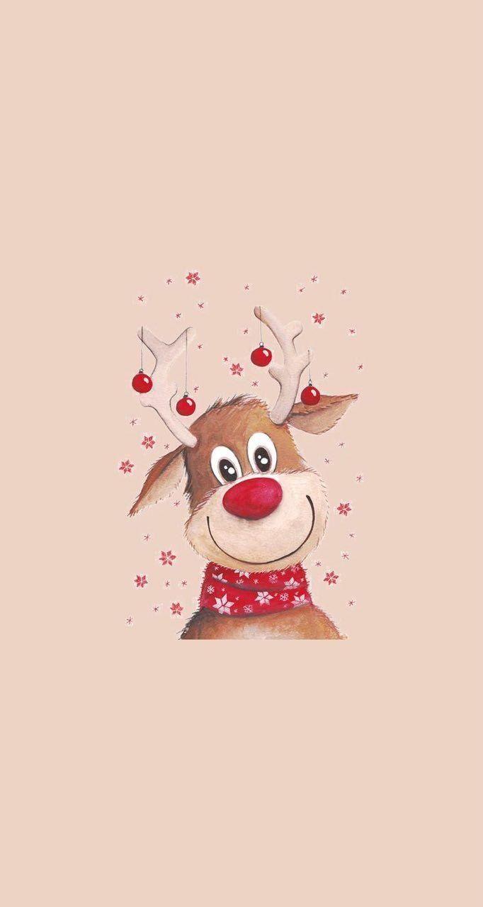 Reindeer Wallpaper Papeis De Parede Natalinos Papel De Parede Natalino Papel De Parede De Fundo
