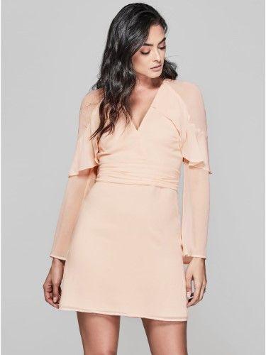 GUESS by Marciano Women s Haute Tropic Ruffled Long Sleeve Dress in ... 7150d11fe4