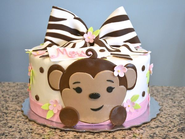 Adorable St Birthday Pink Monkey Cake With A Zebow