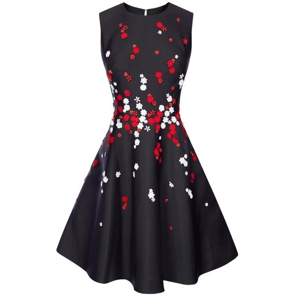 Karen Millen Floral Bead Prom Dress Blackmulti 320 Liked On