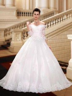 Col en coeur 3/4 manches robe de mariée princesse