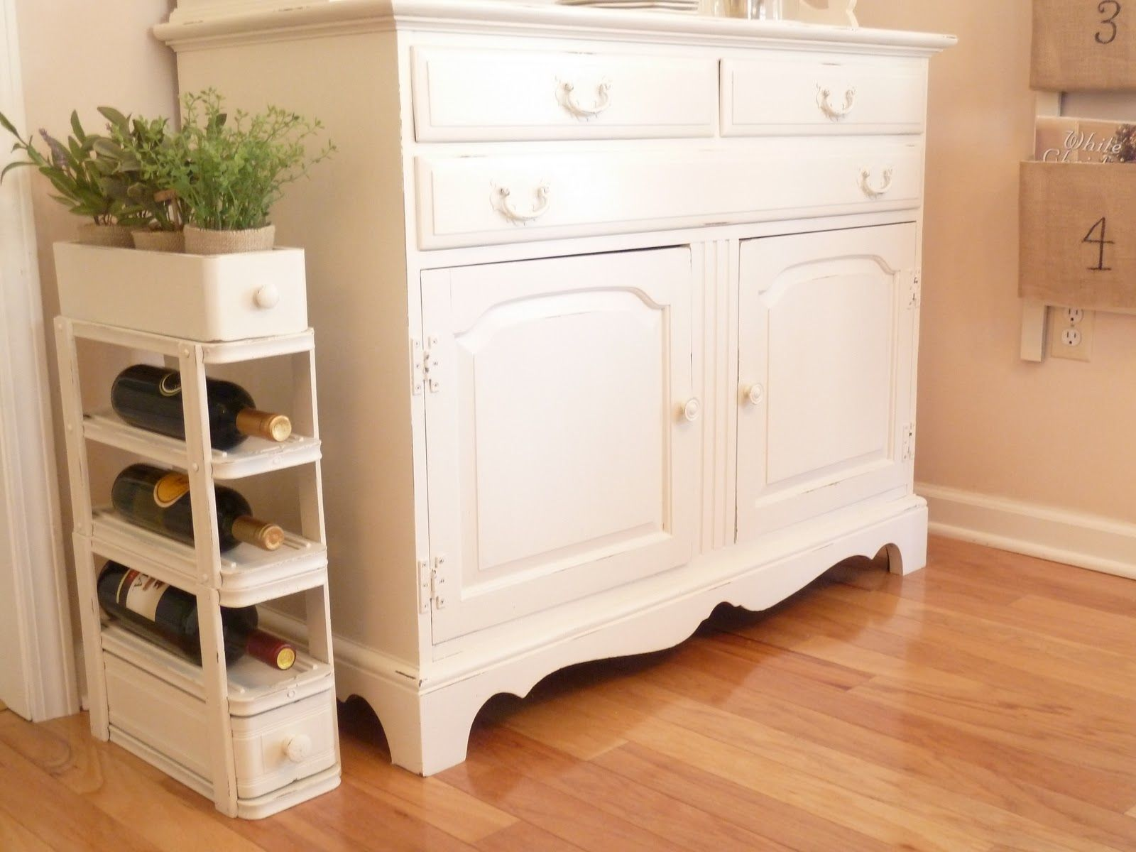 Vintage Sewing Table Drawers Repurposed Into A Wine Rack